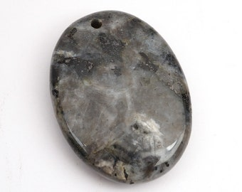 Large flat oval Norwegian moonstone pendant, black grey larvikite bead silver flash 40mm