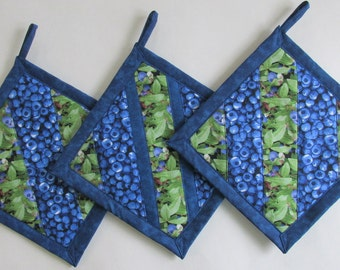 Blueberry Patchwork  Potholders, Blueberry Kitchen Theme, Blueberry Kitchen Decor, Blueberry Kitchen Accessories