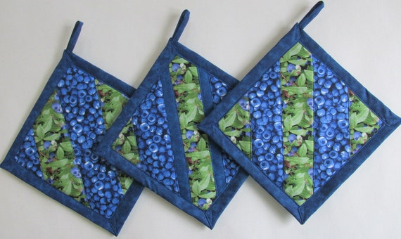 Blueberry Patchwork Potholders Blueberry Kitchen Theme Blueberry Kitchen Decor Blueberry Kitchen Accessories