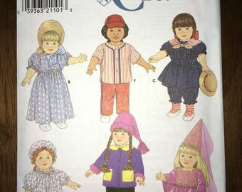 "Uncut Simplicity Crafts Pattern #7949 - 18"" Doll Costumes & Accessories circa 1997 - baseball, Americana, princess, Prairie girl YMA47R"