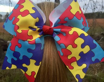 Autism Awareness Cheer Hair Bow
