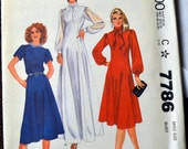 Vintage 1980's  Sewing Pattern McCall's 7786 Misses' Dress Bust 34 Size 12 Uncut Complete