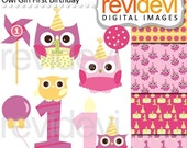 45% OFF SALE Pink owl clip art - Girly Owl First Birthday Cliparts - digital images, instant download, commercial use