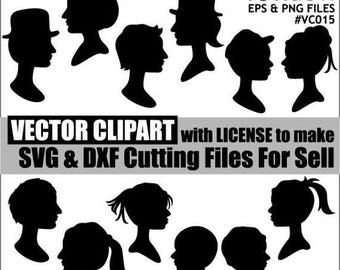 50% OFF SALE Family head vector eps clipart - silhouette black monogram clip art - instant download - man woman graphics - commercial use