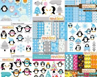 Winter clipart / Penguins cli part big mega bundle / cute penguins, snowflakes clip art, digital paper - instant download, commercial use