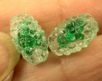Vintage German Glass Two-tones BEADS Green Clear 12mm pkg2 gl481