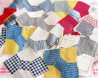 Made In the Old Farmhouse...Vintage Patchwork Bow Tie Quilt Blocks...Calicos