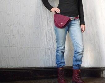 Belt Bag in Deep Red, Waxed Canvas : Fanny Pack, Hip Bag, Waist Bag, Festival Bag, Hands Free Bag, Duck Canvas Bag, Rustic, Boho, Burgundy