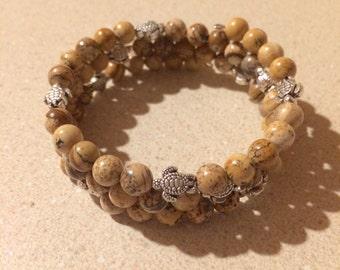 Turtles Picture Jasper gemstone bead bracelet - silver memory wire