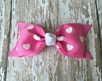 Valentine Toddler Bow Pink Heart Tuxedo Bow Pink Heart Toddler Hair Bow 3 Inch Alligator Clip Baby Hairbow Tuxedo Bow 3 Inch Valentine Bow