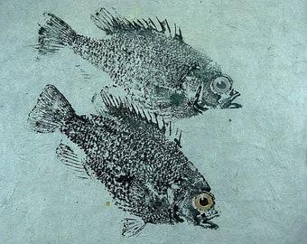 GYOTAKU fish Rubbing Two Rock Bass 8.5 X 11 quality Art Print Panfish Cottage Decor by artist Barry Singer