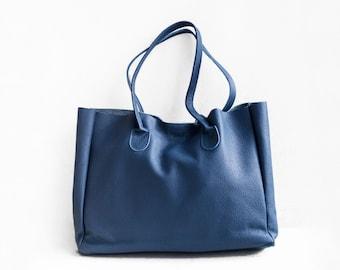 SALE Steel Blue Leather Shopper, Leather Tote Bag, Blue Leather Bag, Leather Shopper, Leather Bag, Leather Handbag, Blue Tote