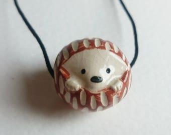 Ceramic Hedgehog Bead Necklace