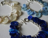 RESERVED Ivory Royal and Pale Blue Bridal Party Button Bracelets