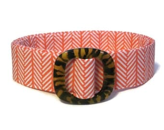 Women's D-ring Belt / Orange Belt / Woven Belt / Ladies Fabric Belt / Wide or Narrow Belt / Coral Geometric Stripes