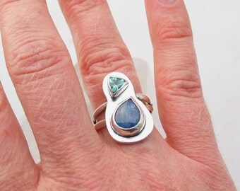Kyanite Ring Artisan Jewelry Green Apatite Art Jewelry Sterling Silver Ring Contemporary Jewelry Handmade