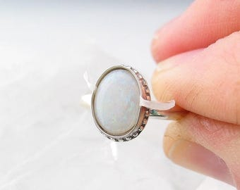Earth Day Sale Australian Opal Ring, Boho Jewelry, Sterling Silver Ring, Custom Jewelry, Made to Order, Choose Your Size
