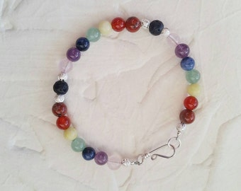 Seven Chakra - Bead Bracelet with Silver Accents