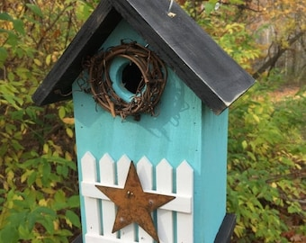 Snow Storm Sale Turquoise Rustic Primitive Birdhouse White Fence White Metal Star Grapevine Wreath Country