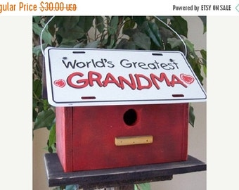 Snow Storm Sale Grandma License Plate Birdhouse Red Fully Functional