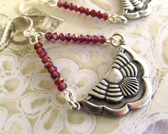 Garnet earrings - art deco jewelry - Boho earrings