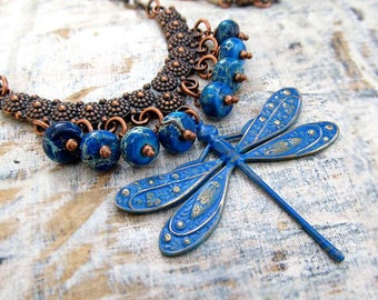 Blue necklace - Dragonfly necklace - Gift for her - handmade jewelry - Boho necklace - Copper jewelry -Bohemian jewelry