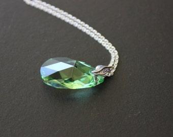 Pear Swarovski Crystal Sterling Silver Necklace