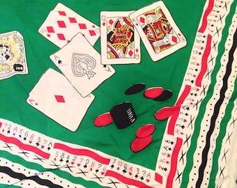 Original 1940s Las Vegas Poker gambling novelty print scarf head scarf by Jesif brand