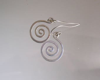 Small Sterling Silver Spiral Earrings, Handwrought Nautilus Dangles