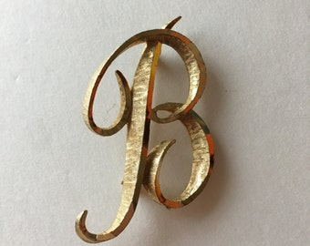 Initial B Pin Mamselle Monogram Brooch in Gold
