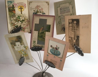Easter Postcard Collection 3 Victorian Edwardian Paper Ephemera Mail Easter Spring Greetings Chick Cross Daffodil