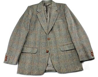 Vintage 1980s 80s 1985 Wool Windowpane Print Tweed Sport Coat Menswear Jacket Mens Size 36R