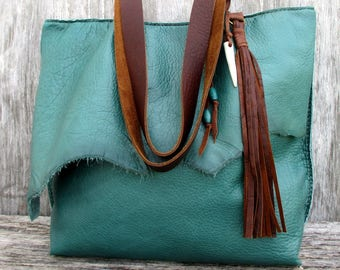Distressed Teal Leather Tote with Raw Edges - Tassel - and - Deer Antler Tip -  by Stacy Leigh