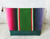 Colorful Serape and Waxed Canvas Zip Pouch, Eco Friendly, Repurposed Textile Clutch