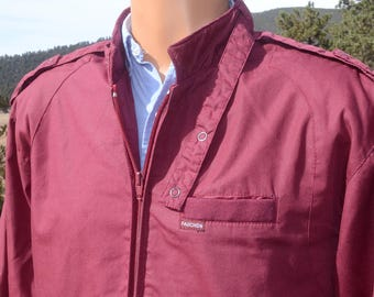 vintage 80s windbreaker FAUCHON members only jacket maroon dark red Medium Large