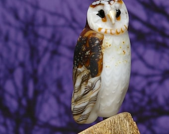 Barn Owl Lampwork glass wildlife sculpture and bead by Cleo Dunsmore Buchanan - GramaTortoise 47 art sculpture wildlife art collectible