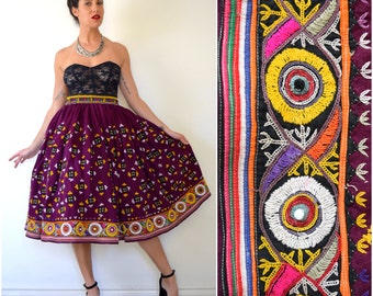 SUMMER SALE/ 30% off Vintage 50s 60s Eggplant Purple Heavily Embroidered Full Circle Cotton Skirt (size small, medium)