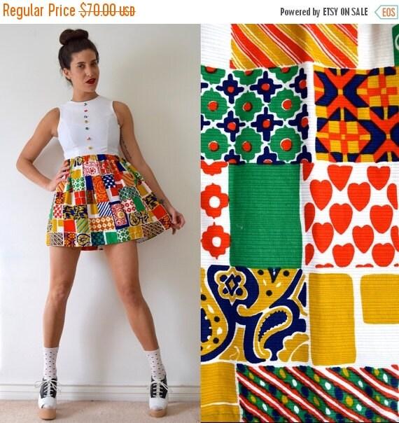 JANUARY SALE / 20% off Vintage 60s 70s Patchwork Print Micro Mini Dress (size small, medium)