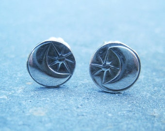 Crescent Moon and Star Sterling Silver Stud Earrings - oxidized silver stamped post earrings organic boho lightweight everyday earrings