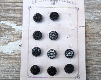 Vintage Antique 1890/1900 French Victorian round jet  buttons  set of 10