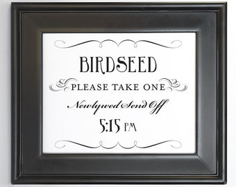 Birdseed Send Off Printable Sign 5:15 pm DIY Digital File PDF Do it Yourself 8x10 and 5x7 Fancy Wedding Decor Reception Sign