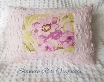 Soft pink vintage chenille amy butler floral shabby chic farmhouse decor throw pillow