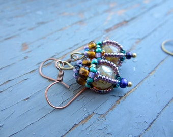 Tiny lanterns bead woven caged earrings , in desert sand or emerald green