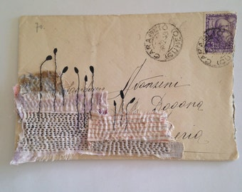 Original Mixed Media Collage - Envelope with textile - pale lilac