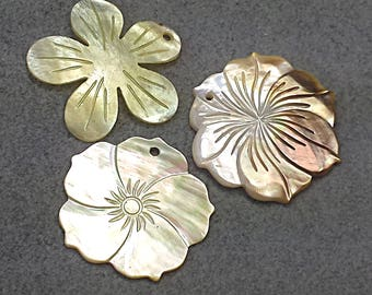 Mother of Pearl Flower Pendants - Trio of Shell Flower Pendants - Paua Shell