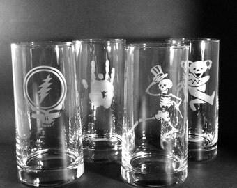 Grateful Dead Pint Glass Sandblast Etched Reversed Taper Set of Four Pub Beer Glasses