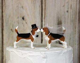 Beagle Wedding Cake Topper, Dog Cake Topper, Grooms  Cake, Mans Best Friend Cake Topper, Animal Cake Topper