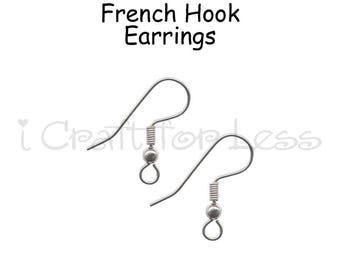 12 (6 Pairs) Stainless Steel Ear Wire French Hook Earrings - SEE COUPON