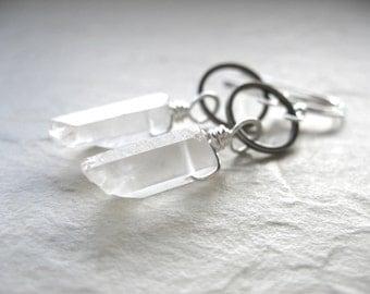Quartz Earrings, Quartz Crystal Point Oxidized Silver Hoop Earrings, Handmade Artisan Gemstone Dangle Drop Earrings, Gemstone Jewelry