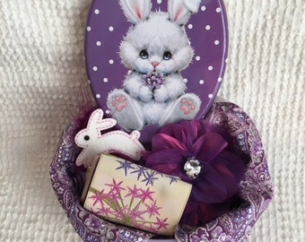 Spring Bunny Treasure Tin Filled with Vintage and New PURPLE Sewing and Crafting Supplies - Great Spring Gift or Treat for Yourself